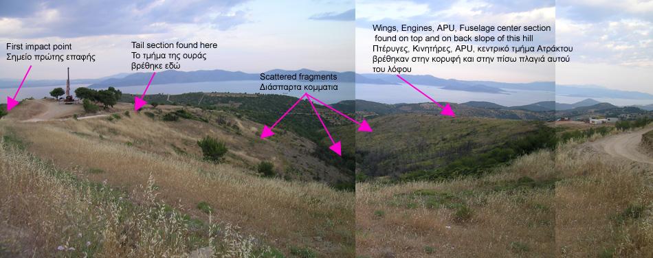 Αποτέλεσμα εικόνας για Περιοχή της κωμόπολης του Γραμματικού Αττικής όπου προσέκρουσε το αεροσκάφος